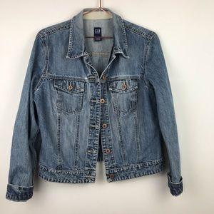 Gap Medium Wash Distressed Denim Jean Jacket Large